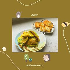 #黄瓜蛋饼 #香煎豆腐 #水果拼盘