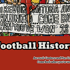 Au revoir Cantona and Man United. Come back when you've won 18.  红军球迷1994年在安菲尔德球场打出的标语,以回击死敌曼联的球迷.. 没想到这个坑一挖就是20年,等到MU也赢得18个顶级联赛冠军后,红军球迷收到了更猛烈的回击,回击标语之前发过了,可以回翻一下,就不多介绍了。  这个标语还有另一个回应的版本,就是在2014年12月份曼联3:0击败利物浦的比赛中,两名红魔球迷制作了这样一个类似的标语来嘲讽红军队长杰拉德在对切尔西比赛中的一个失误。  该场比赛是英超13/14赛季的一场重头戏,第36轮利物浦坐镇主场迎战切尔西,如果获胜,利物浦将有很大机会赢得他们第一个英超冠军。但是在比赛第48分钟,杰拉德在后场停球失误后滑倒,送给对方前锋登巴巴一个单刀机会并最终破门。利物浦最终以0:2的比分输掉了这场比赛,最终也于联赛冠军失之交臂。 · · · 最近我们重新设计了Belight字体编辑功能的交互,并砍掉了100+不太适合用于图片上的字体,又从万千字体中挑选了200+。 我们的设计师专门为每一款字体设计了一份示例海报.. 但是在加班加点做了112份之后,我突然意识到,整个编辑功能(不仅仅是字体),涉及到排版和模板,都应该重新设计,在做了充分沟通后.. 这112份已完成的海报被废弃了.. 留待后续重启😂